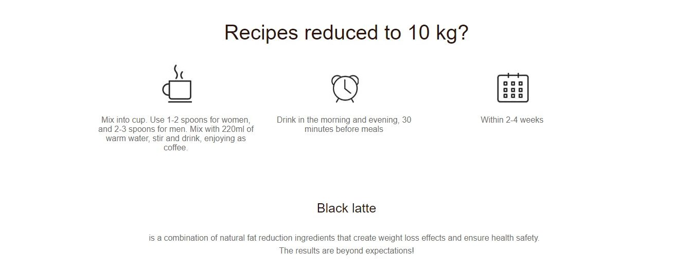 Black Latte recommendations for use